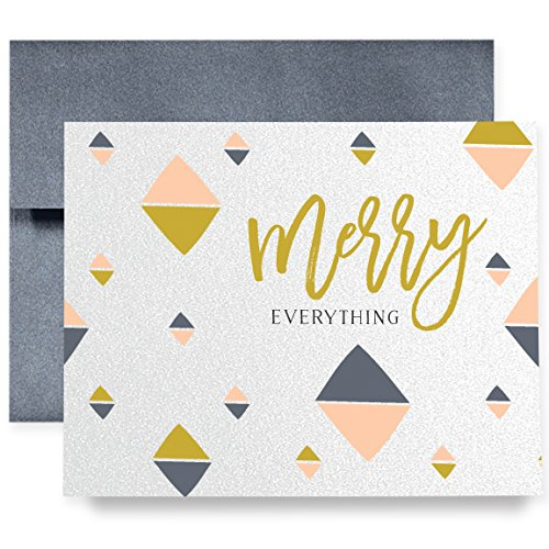 Christmas Holiday Greeting Cards Boxed Set of 8 Shimmer Cards & Gray Envelopes | Luxe Modern Abstract Folded Cards | 8 Count Box of Boutique Christmas Cards | Brandt17 (Boutique Stationary)
