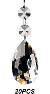 Chandelier Pendants Parts: Fushing 20Pcs Crystal Teardrop Chandelier Prisms Pendants Parts Beads  (38mm, Clear),Lighting