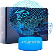 Bigfoot 3D LED Night Light NFL Football Helmet Falcons Flat Acrylic Illusion Lighting Lamp with 7 Colors and T