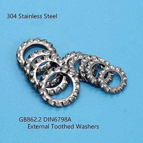 DIN6798A M3 M4 M5 M6 M8 M10 ~M30 Washers External Toothed Gasket Washer Serrated Lock Washer 304 Stainless Steel Size : M8 100PCS