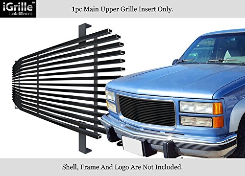 - APS Best Fits 1994-1999 GMC Sierra Pickup/Suburban/Yukon Black Stainless Steel Billet Grille