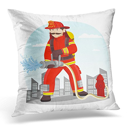 Emvency Throw Pillow Cover Fireman in Helmet Near Hydrant Spraying Water Rescue Man Uniform and at Front of Town City Person Decorative Pillow Case Home Decor Square 18
