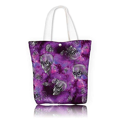 Stylish Canvas Zippered Tote Bag —W21.7 x H14 x D7 INCH/Reusable Canvas Tote Bag Printed 100% CottonSkull Decor Horror Movie Themed Flying Skull Heads Halloween in Outer Space Image Black and