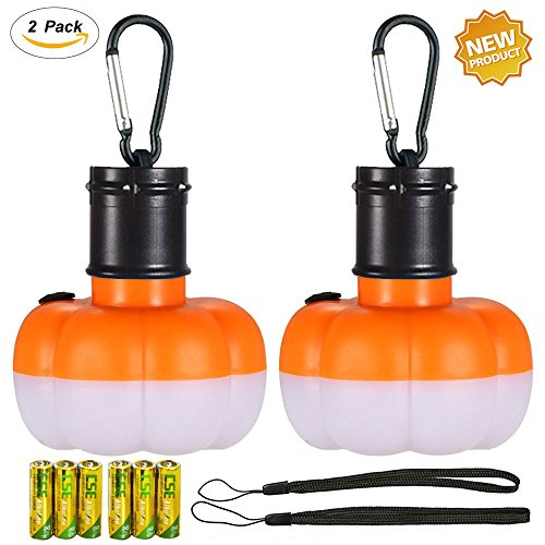 ANUOEXGO Pumpkin Lamp, Portable LED Camping Light Tent Lantern Hiking Bulb Nightlight Flashlight,Decorate with Clip Hooks,Survival Kit for Outdoor Travel Backpacking Fishing Emergency Car Repairs