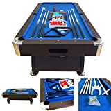 8' Feet Billiard Pool Table with Automatic ball return system Snooker Full Set Accessories Game Vintage Blue 8FT