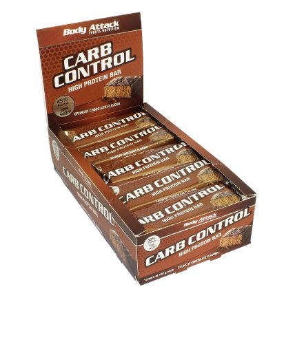 Body Attack Carb Control Protein Riegel 15x 100g (Box), Crunchy Chocolate, 15x100 g