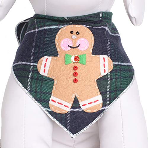 Tail Trends Christmas Dog Bandanas with Gingerbread Man Cookie Designer Appliques 100% Cotton