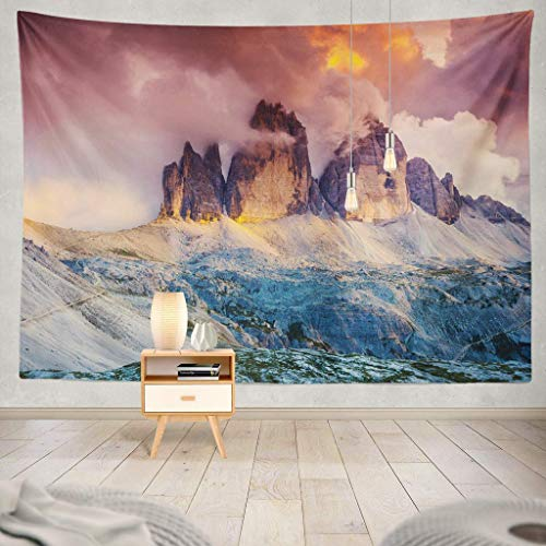 South Printed T-shirts Park - KIMILT HEY Eco-Friendly Silky Tapestry National Park with South Tyrol Location Italy Europe Scene Beauty World Nature Mountain Landscape Autumn SunsetWall Hanging,Picnic Blanket,Tablecloth,60X60