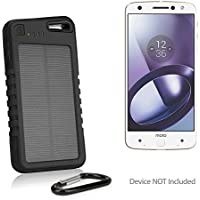 Motorola Moto Z Battery, BoxWave [Solar Rejuva PowerPack (5000mAh)] Solar Powered Backup Power Bank for Motorola Moto Z - Jet Black