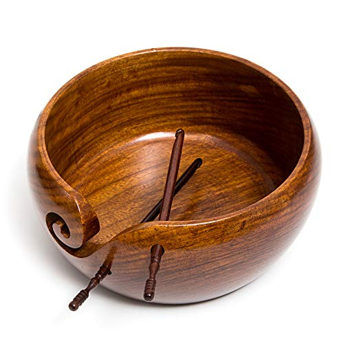 Eunoia Yarn Bowl | Best Handmade Yarn Holder for Knitting | Large Wooden 7'' x 4'' | Extra: Wood Crochet Hook and Travel Bag | by Eunoia (Image #2)
