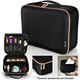 Travel Makeup Bag - Premium Designer Cosmetic Bag with Rose Gold Zipper and Adjustable Dividers - Makeup Case and Toiletry Bag - Train Case Make up Bag for Women - Cosmetic Organizer for Traveling