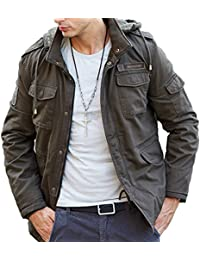 AooToo Mens Warm Hooded Coat Zipper Button Cotton Jacket with Detachable Hoodie