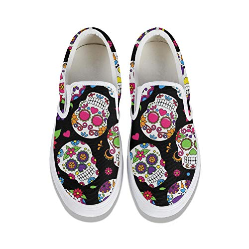 Day of The Dead-Skull Women's Slip-on Canvas Loafer Fashion Sneaker Light Weight Casual Flat Walking Running Shoes