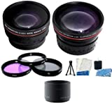 Must Have Lens Accessory Kit includes .43x Wide Angle Lens + 2x Telephoto Lens + 3pc Filter Kit + Lens Tube Adapter + Mini Tripod + LCD Screen Protectors + Camera Cleaning Kit For Panasonic Lumix DMC-LX3