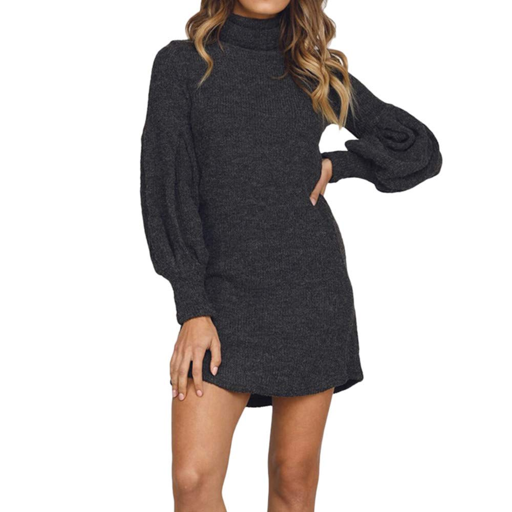 Sunday Damen Pullover Minikleid Herbst Winter Kleid Casual Mode Pulli Kleid Langarm Strickkleid Rollkragenpullover Kleid Abendkleid Club Partykleid