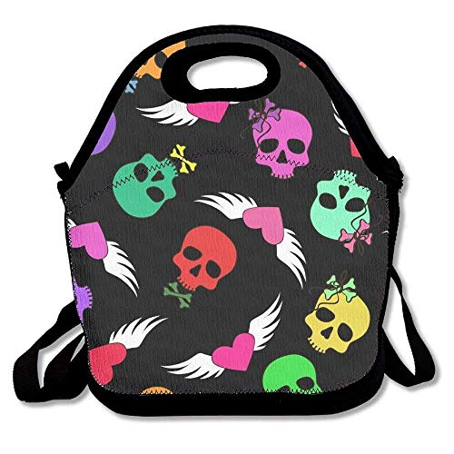 Sdfr4 Funny Skulls and Winged Hearts Lunch Bag Lunch Tote Lunch Box Handbag for Kids and Adults (Winged Handbag Heart)