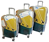 A2S 3 Piece Luggage Set – Lightweight & Durable Hard Shell Suitcases with 8 Spinner Wheels - ABS Travel Trolley Set including 21