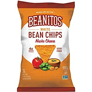 Beanitos Nacho Cheese White Bean Chips Plant Based Protein Good Source Fiber Gluten Free Non-GMO Corn Free Tortilla Chip Snack 6 Ounce (Pack of 6)