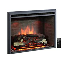 """PuraFlame Western 33"""" Black Embedded Electric Firebox Fireplace Heater With Remote Control"""