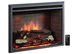 """The PuraFlame 33"""" Western Electric Fireplace Insert is an energy-saving, elegant, firebox, with a convenient multi-function remote control.  The realistic fire-like feature consists of backlit LEDs flame with 3 different variations of intensi..."""