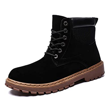 MUMUWU Mens Ankle Boots Casual High Top Rounded Top Comfortable Work Shoes Winter (Color :