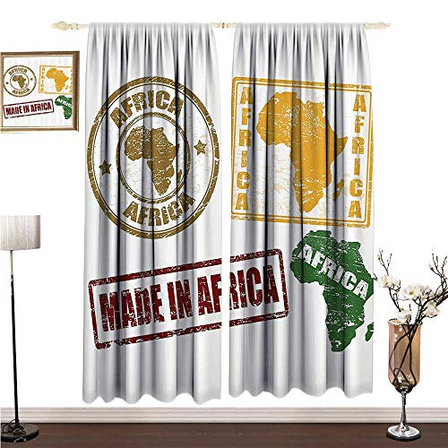 Thermal Curtains African Decorations Set of Grunge Rubber Stamps Made in Africa Quote Inside Authentic Labels Theme W108 xL96 Decorative Curtains for Living Room