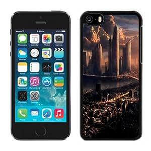 Beautiful Designed Antiskid Cover Case For iPhone 5C Phone Case With Futuristic City Skyline_Black Phone Case