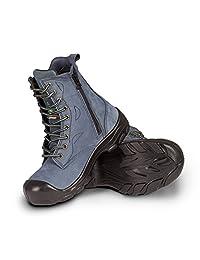 "Women's steel toe work boots with zipper - Marine (8"")"