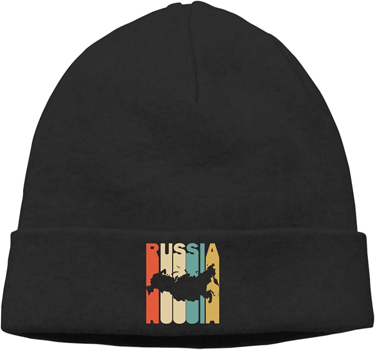 Unisex Knitting Cap Daily Retro Style Russia Silhouette Ski Hat for Mens Womens