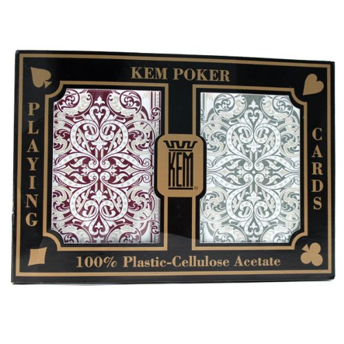 2 Deck Set of KEM Jacquard 100% Plastic Playing Cards - Comes with 2 Free Cut Cards! by Kem Playing Cards