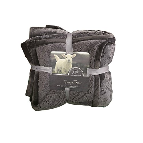 HOLY HOME Sherpa Throw Berber Fleece Blanket Double Layered Carve Broken Flower Pattern Gift Blanket Sheets Classic Lamb Wool Series to Home 60''x80'' Space Gray by HOLY HOME
