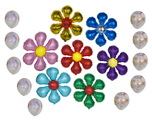 Flower Shaped Balloon Happy Birthday Banner Party Set of 17 Pack Mylar Foil Helium Reusable Latex Ballons Congratulation Decoration Anniversary Festival Graduation Bouquet Gift Engagement Celebration (Bouquet Balloon Shaped)