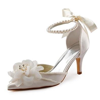 8ceb49527f41 ElegantPark EP11052 Women High Heel Pumps Pointed Toe Flower Pearls Ankle  Strap Satin Bridal Wedding Shoes