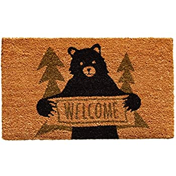 Superieur Home U0026 More 122261729 Bear Greeting Doormat, Natural/Green/Black