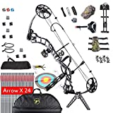 MEJOSER Compound Bow Package Right Handed Adults Hunting Accessories,Bow Arrows,19-30' Draw Length,15-70Lbs Draw Weight (black camo)
