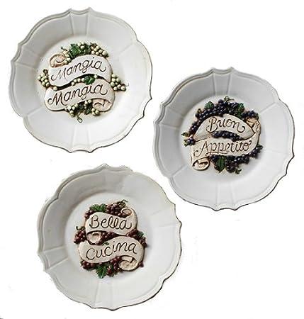 Italian Decorative Wall Plates Set of Three: Amazon.co.uk: Kitchen ...