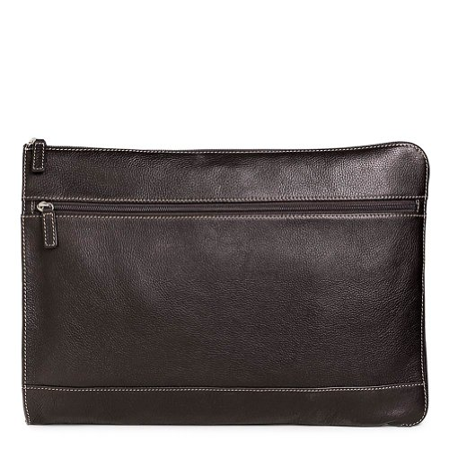 Levenger Bomber Jacket Expandable Briefolio Full-Grain Leather Portfolio with Zip Closure in Pebbled (Pebbled Leather Padfolio)