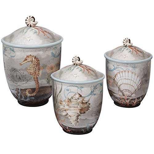 Certified International Coastal View 3 Piece Canister Set, 50 oz/76 oz/104 oz, Multicolor by Certified International (Image #1)