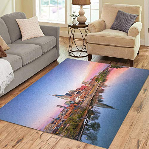 Pinbeam Area Rug Beautiful Nashville Tennessee Downtown Skyline Cumberland River Home Decor Floor Rug 3' x 5' Carpet ()