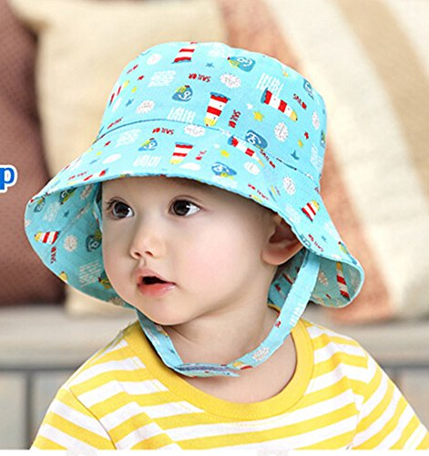 Qandsweet Baby Boy and Girl's Sun Protection Hat Cartoon Bucket Hat (12-24 Months, Rokcet)