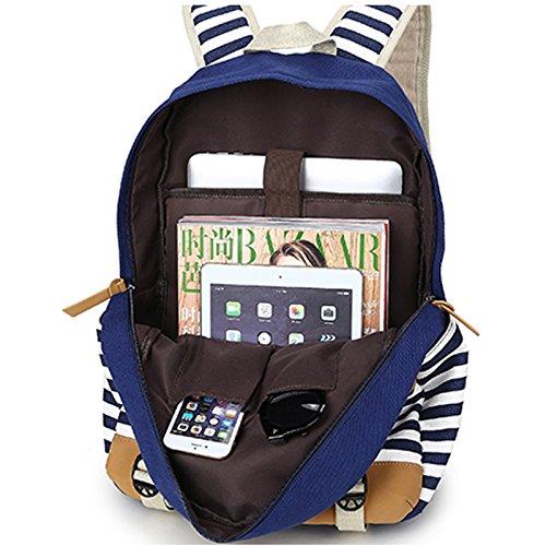 rayé sacs 15 ordinateur Bagpack livre à Étudiant pouces jours Army pour Fringe Winnerbag Green les dos les Black 6 tous sac Sac filles Collège femmes adolescents waOxP7Iq