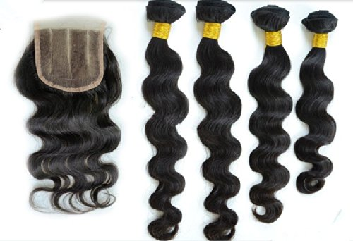 DaJun Hair 8A 3 Way Part Lace Closure with 3 Bundles European Virgin Remy Human Hair Body Wave Natural Color 8''closure+14''14''14''weft by DaJun