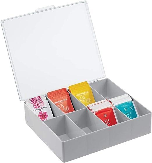 mDesign Organizador de Cocina – Práctica Caja de plástico con Tapa ...
