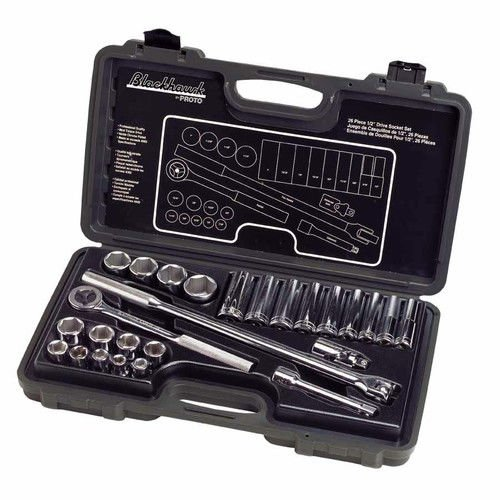 Blackhawk By Proto 1226NB 6-Point Drive Socket Set, 1/2-Inch, (Blackhawk Socket Set)
