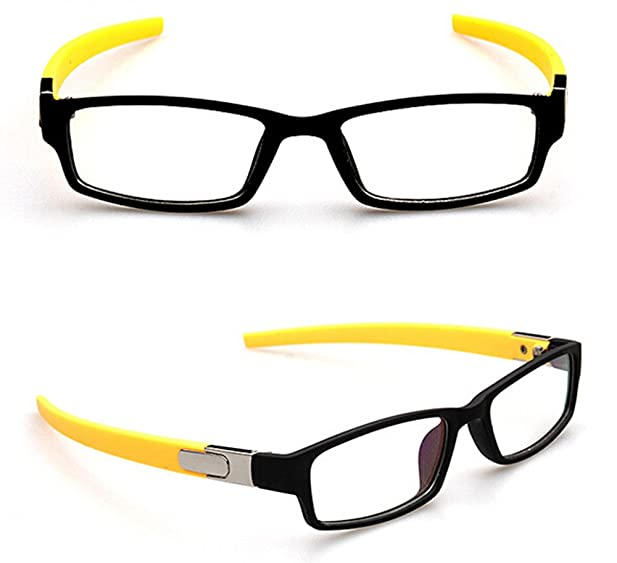 black with yellow temples sports fashion eyeglass frame optical eyewear clear lens plain glasses rx 2218 - Yellow Eyeglass Frames