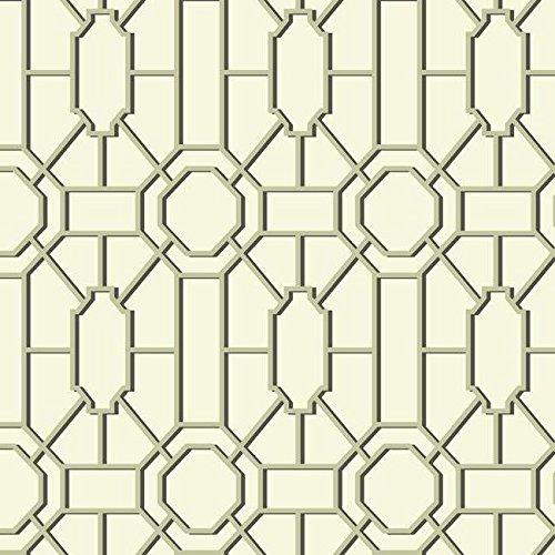 (York Wallcoverings WM2526 Williamsburg Dickinson Trellis Wallpaper, Cream, Gold, Black )