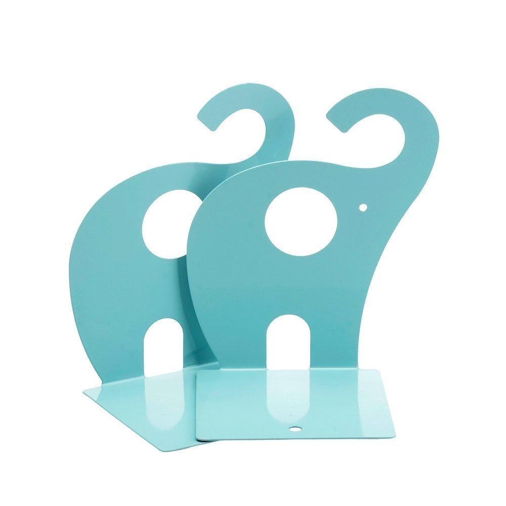 Gearmax 1 Paar Niedlichen Elefanten nonskid Bücherstütze, Metallkunst Bookends (See-Blau)