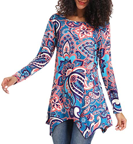 Casual Print Tops for Women, Acloth Print Long Sleeve Blouse Irregular Hem Asymmetrical Flared Vintage Bright Colorful Red Paisley Floral Flowy Shirt Round Neck Basic Tee Multi Blue XXL - Paisley Blouse Vintage