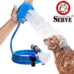 Pet Shower Sprayer for 8 FT Hose and 2 Adapters, Pet Bathing Tool With Dog Cat Horse Grooming Massage