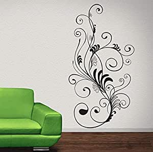 Walliv Decals Curvy Tufts Of Floral Lines [decorative, Or23]